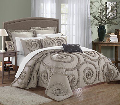 Chic Home Rosalia 11-piece Ruffled Etched Embroidery Comforter Set, Bed in a Bag, Sheet Set, 4 Shams and 2 Throw Pillows Included (Queen, Taupe/Beige)