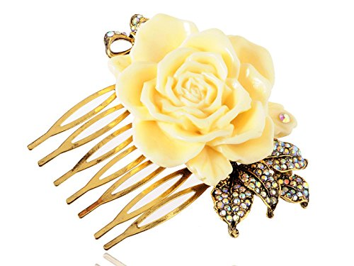 Gold Metal Tone Sculpted Yellow Rose Rhinestone Embellished Leaves Hair - Bow Tone Brooch