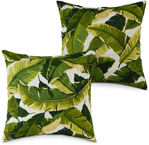 South Pine Porch AM4803S2-PALM-WHITE Palm Leaves White Outdoor 17-inch Square Accent Pillow, Set of 2