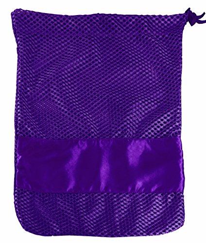Toggle Bag (Mesh Toe Shoe Bag with Drawstring and Toggle (Purple Stripe))