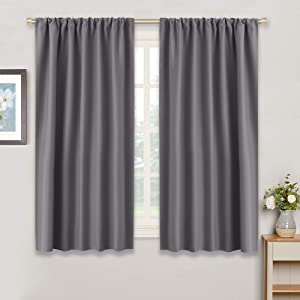 "RYB HOME Blackout Curtains Thermal Insulated Panels Décor (42"" x 54"", Grey, Double Pieces) Slot Top Rod Pocket Blackout Drapes for Living Room/Window Dressing Energy Saving & Room Darkening"