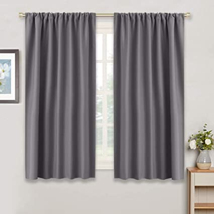 Amazon Com Ryb Home Gray Blackout Curtains For Kitchen 42 W By 45