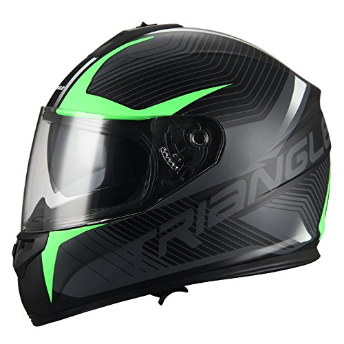 Triangle Full Face Dual Visor Matte Black Street Bike Motorcycle Helmet (X-Large, Matte Green)
