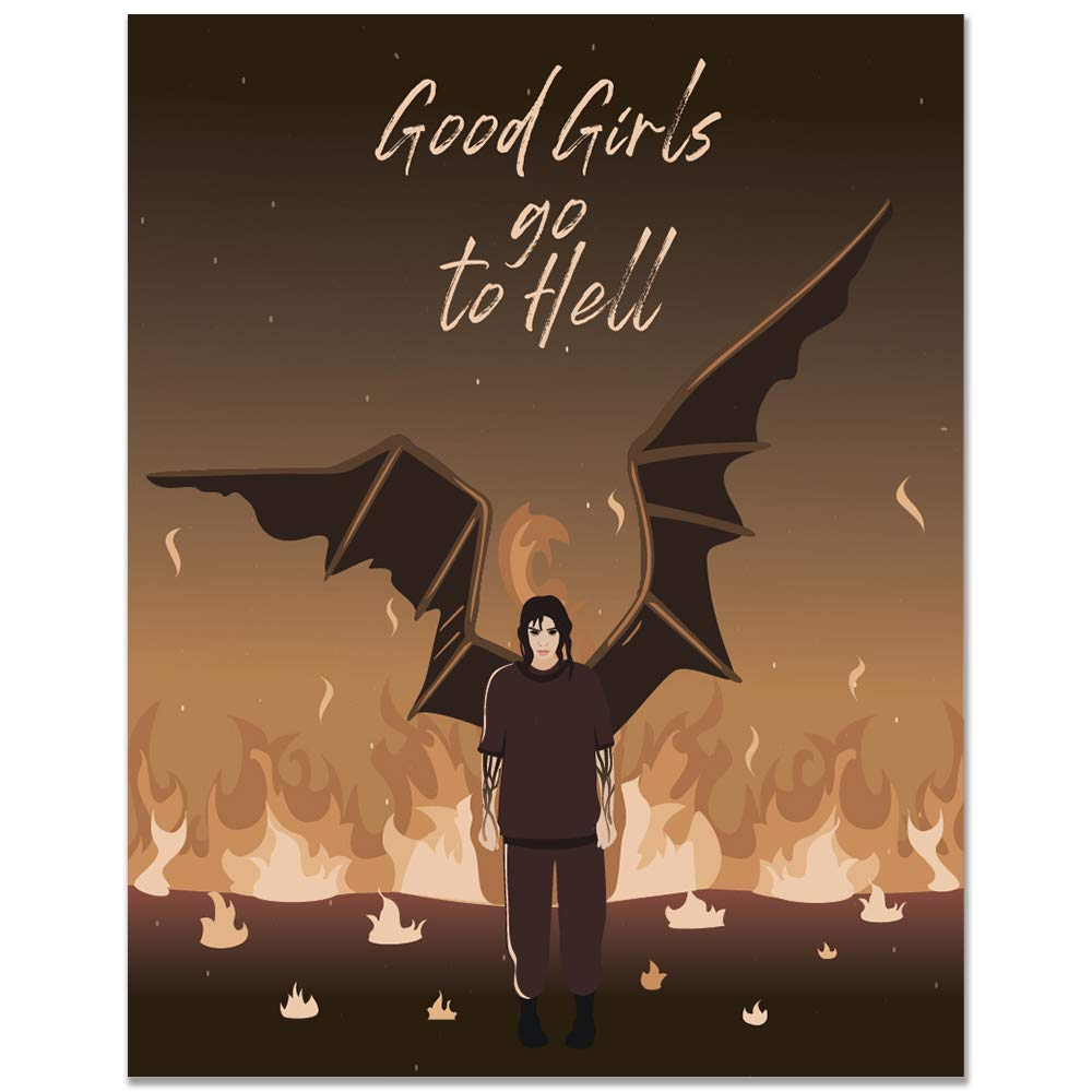 11x14 Good Girls Go To Hell Poster//Billie Eilish//Gifts For Women//Angel Wings//Musical//Home Wall Decor//Home Wall Art//Bedroom Decor//Quotes Wall Art//Music Wall Decor//Music Wall Art