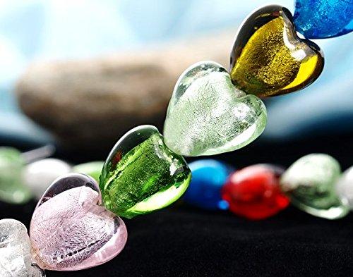 Ecloud Shop 50 Fashion Multicolor Heart-Shaped Lampwork unique Murano Glass Beads 12mm - Heart Shaped Lampwork Glass Beads