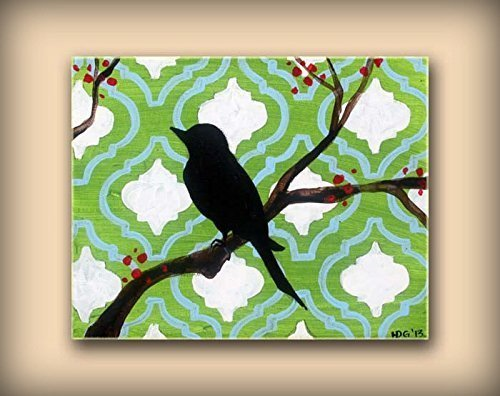 Berry Tiles (Bird Painting on Canvas featuring Green and Blue Moroccan Tile Pattern with Berry Branches and White Accents)