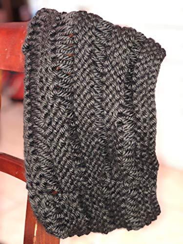 Handmade knit cowl scarf neckwarmer - Drop stitch - Black ()