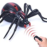 Leewa Kids Toy Gift Remote Control Realistic Fake Spider/Cockroach RC Prank Insects Joke Scary Trick for Party (Black -Spider)