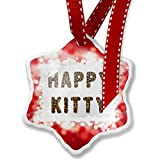 Christmas Ornament Happy Kitty Cheetah Cat Animal Print, red - Neonblond