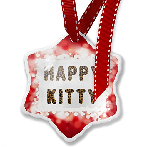 Christmas Ornament Happy Kitty Cheetah Cat Animal Print, red - Neonblond by NEONBLOND