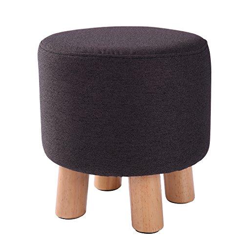 Cotton Round Ottoman (Modern Round Ottoman Footstool Upholstered Ottoman Removable cotton Linen Fabric Cover (Dark grey))