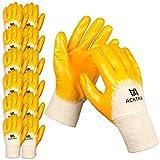 Acktra Nitrile Coated Cotton Safety WORK GLOVES 12 Pairs/Dozen, Knit Wrist Cuff, Multipurpose, for Men & Women, Orange, Medium, WG001