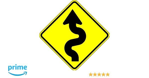 18 x 18 Warning Sign Curvy Road 10 Year 3M Warranty.