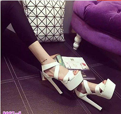 tacon 14cm XiaoGao sandalias super de Blanco ZnwUqgzf