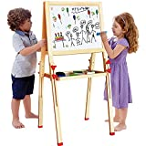 NEOWOWS 2 in 1 Wooden Art Easel Adjustable Standing Easel with Chalkboard Dry-erase Whiteboard and Accessories for kids