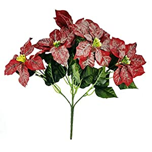 MM TJ Products Artificial Large Frosted Poinsettia Bush; 5 Stems, Large 17 inches 87