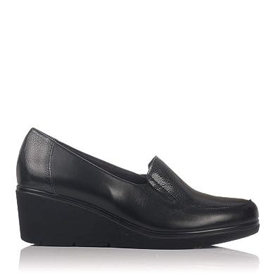 PITILLOS 5231 Zapato Mocasin Piel CUÑA Mujer Negro 37