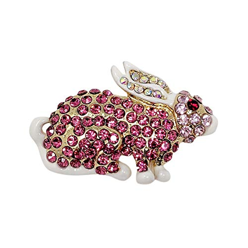 (echomerx Bunny Pin Brooch with Crystals Pink and White)
