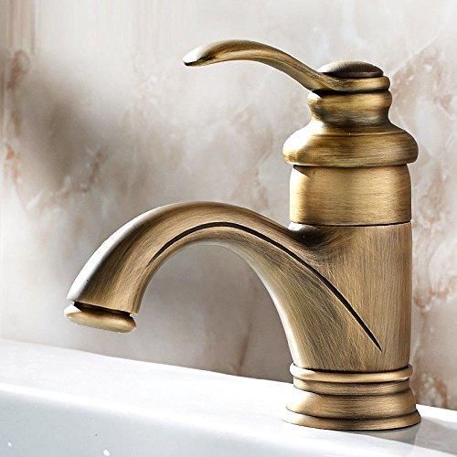 MEIBATH Waschtischarmatur Badezimmer Waschbecken Wasserhahn Küchenarmaturen Kupfer antik 1 Bohrung Kupfer Einhebelsteuerung Warmes und Kaltes Wasser Küchen Wasserhahn Badarmatur