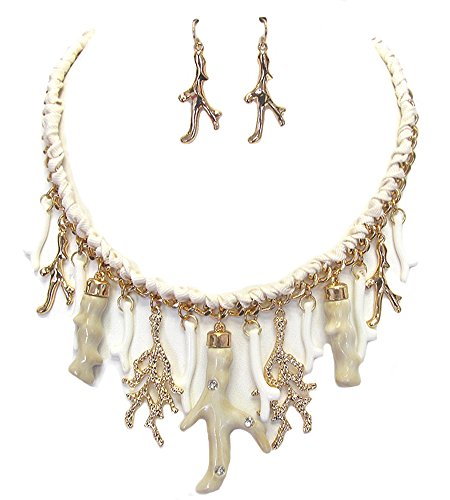 Fashion Jewelry ~Coral Reef Charms Pendant Chunky Necklace and Earrings Set (Goldtone, White) ()