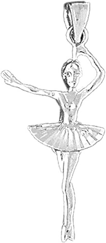 JEWELS OBSESSION 18K Ballerina Pendant 18K White Gold Ballerina Pendant Made in USA