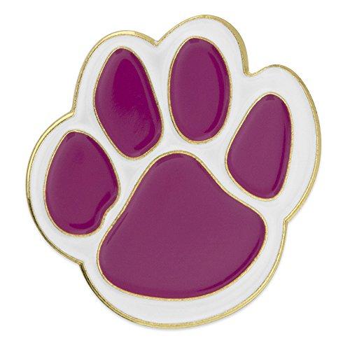 top PinMart Purple and White Animal Paw Print School Mascot Enamel Lapel Pin hot sale
