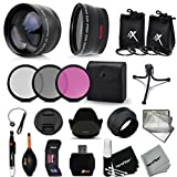 Essential 58mm Accessory Kit for CANON EOS Rebel T6i T6S T5i T5 T4i T3i T3 T2i EOS 80D, 70D EOS 60D 5D 5D Mark III, EOS 1200D 1100D 100D SL1 EOS M3 M2 M Xsi XTi XT DSLR Cameras - Includes: High Definition Wide Angle Lens with Macro Closeup feature, + High Definition 2X Telephoto Lens + 3 Piece HD Filter Set + + Ring Adapters to from 46-62mm + 58mm Tulip shaped Hard Lens Hood + 58mm Soft Rubber Len