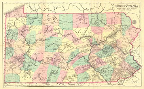 Vintage Map | 1875 Railroad and County Map of Pennsylvania | Historic Poster Art Reproduction | 24in x 16in