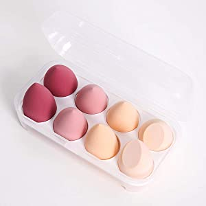 DAWOOWOO Blending Sponges Set of 8PCS Foundation Blender Sponge Makeup Cosmetic Cream Powder Multi shape for Dry & Wet Use, Beauty Sponge Holder Organizer Box Multi Pink Color Cosmetics Tool Applicator Puff Drying Rack Display Storage