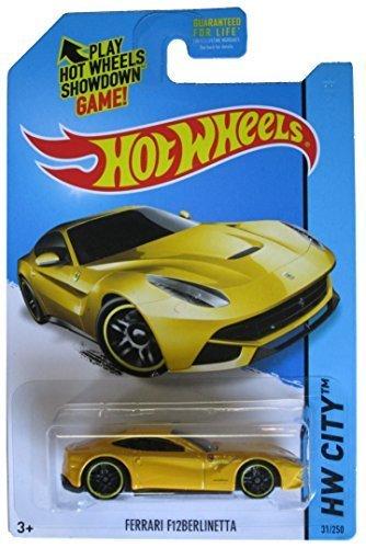 Hot Wheels 2014 HW City Ferrari F12 Berlinetta Yellow #31/250 by - Yellow Ferrari