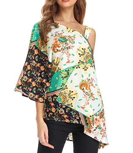 FanXinXing Women's Summer One Shoulder Tops Lose Sexy Print Irregular Hem Asymmetrical Tunic Blouses S-Green
