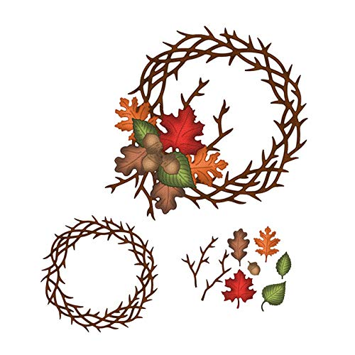 (Wreath Set Frame Metal Cutting Dies Craft Die Scrapbooking Dies Cut Stamps Decor Embossing)