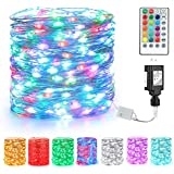 BrizLabs Christmas Fairy String Lights, 66ft 200 LED Color Changing Fairy Lights with Remote, Dual Color Plug in Xmas Twinkle Lights, Muticolor RGB Christmas String Light for Room Wedding Party Decor