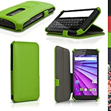 iGadgitz Premium Folio Green PU Leather Case Cover for Motorola Moto G 3rd Generation 2015 XT1540 (G3) with Multi-Angle Viewing Stand + Auto Sleep/Wake + Screen Protector