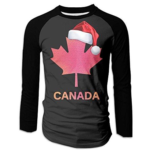 Canada Maple Leaf With Santa Hat Men's Raglan Baseball T-Shirts Long Sleeve Baseball Tees - Versace Canada Clothing