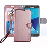 #8: Galaxy J7 V / J7 Perx / J7 Sky Pro / J7 Prime / Galaxy Halo Case , ERAGLOW Luxury PU Leather Wallet Flip Protective Case Cover with Card Slots and Stand for Samsung Galaxy J7 2017 (Rose Gold)