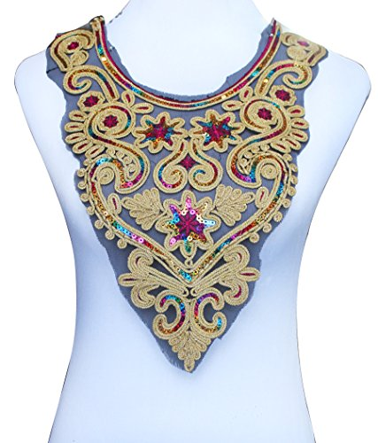 Collar Sequin Beaded Applique (1piece Craft Gold Metallic Lace Collar Beaded Sequin Embroidered Patches Decorated Sewing Neckline Applique Collar T527)