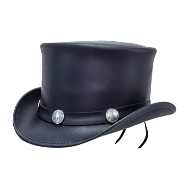 2338049f45ea Voodoo Hatter El Dorado-Buffalo Band by American Hat Makers Leather Top Hat  at Amazon Men's Clothing store: