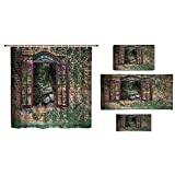 Bathroom 4 Piece Set Shower Curtain Floor mat Bath Towel 3D Print,Windows Inside Forest View Brick Wall with Ivy,Fashion Personality Customization adds Color to Your Bathroom.