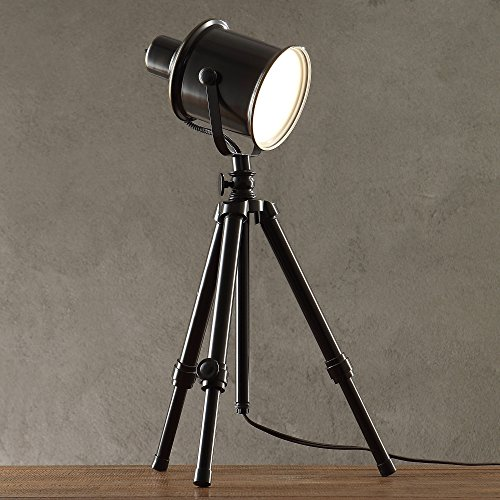 (ModHaus Living Modern Metal Accent Adjustable Single Light Tripod Director's Desk Table Lamp - Includes Pen)