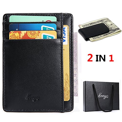 Front Pocket Wallets for Men Small Thin Slim Mini Genuine Leather Magnetic Money Clip Mens 6 Credit Card Holder Wallet Set Case Father Husband Boyfriend Christmas Gift Ideas, RFID , Black