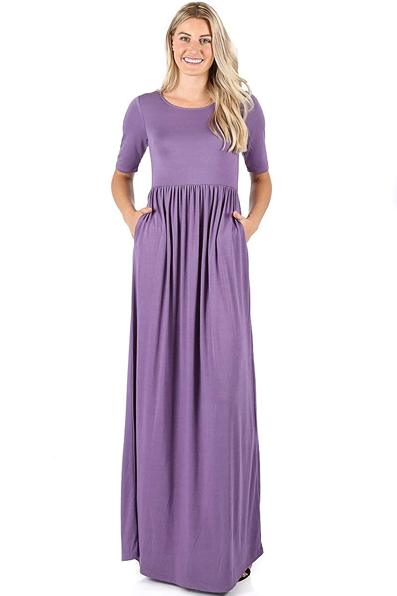 55ac14c7538 Zenana Premium 7011 Casual Women s Long Maxi T-Shirt Dress with Half  Sleeves and Pockets at Amazon Women s Clothing store