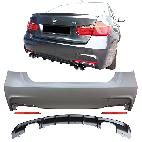 Rear Bumper Cover Fits 2012-2018 BMW F30 | 3 Series MP Style Rear Bumper Conversion Diffuser Twin Muffler Twin Outlet by IKON MOTORSPORTS | 2013 2014 2015 2016