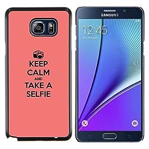Caucho caso de Shell duro de la cubierta de accesorios de protección BY RAYDREAMMM - Samsung Galaxy Note 5 5th N9200 - Guarde la calma y selfie
