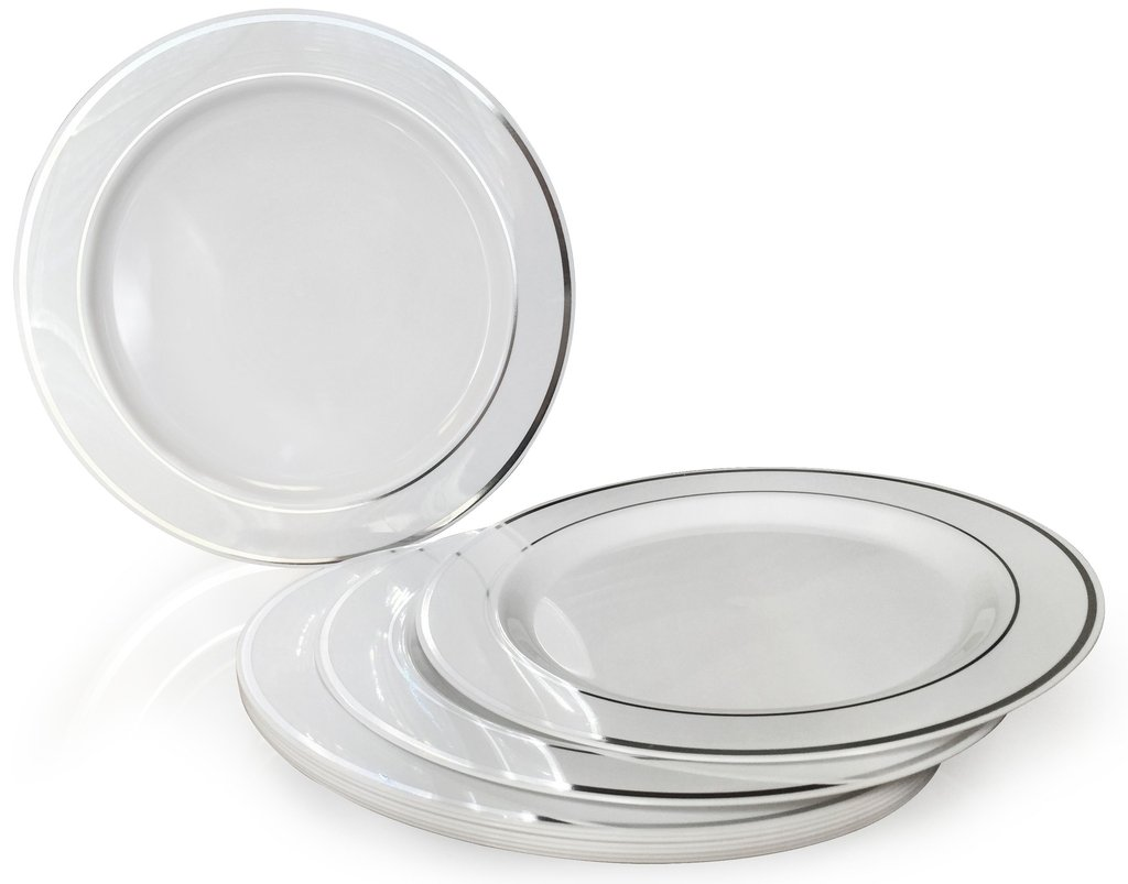 OCCASIONS 120 PACK, Heavyweight Disposable Wedding Party Plastic Plates (9'' Luncheon Plate, White/Silver Rim)
