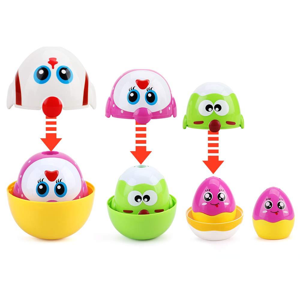 Juguetes educativos Familiares de Pollo Lindo para ni/ñas ni/ños nicknack Juguete de Huevos de anidaci/ón Juguetes de apilamiento de Huevos de Pascua para beb/és