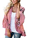 Womens Casual Spring Kimono Bell Sleeve Hollow Out Lace Short Cardigan (Pink,S)