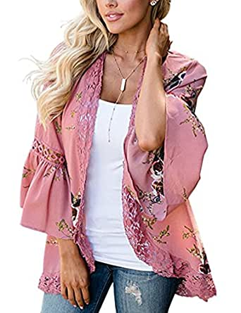 Halife Womens Floral Loose Bell Sleeve Kimono Cardigan Lace Patchwork Cover Up Blouse Top (S, Pink)