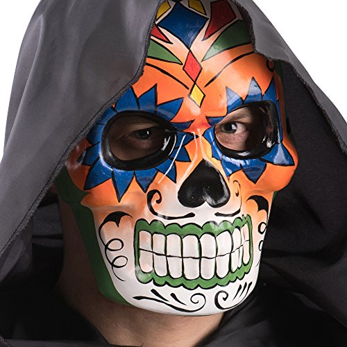 Carnival Toys 667Skull Mask with Coloured Decorations and Baffetti, Multicoloured, One -
