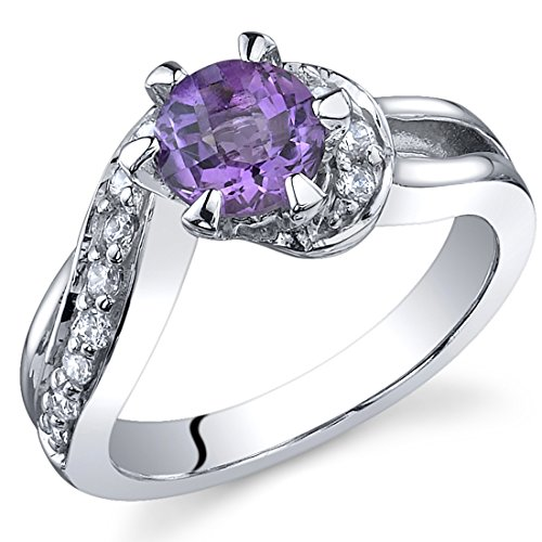 Majestic Wave 0.75 carats Amethyst Ring in Sterling Silver Rhodium Nickel Finish Sizes 5 to 9